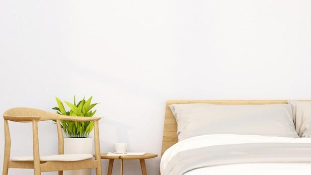 Schlafzimmer und relaxbereich in der wohnung oder im hotel - innenarchitektur - wiedergabe 3d