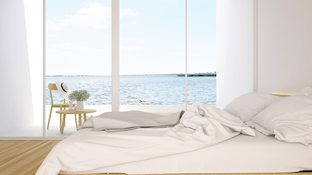Schlafzimmer- und terrassen-seeblick in hotel oder wohnanlage