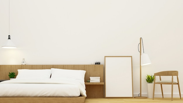 Schlafzimmer und wohnbereich für kondominium- und hoteldesign - wiedergabe 3d