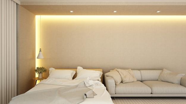 Schlafzimmer und wohnbereich im hotel oder apartment