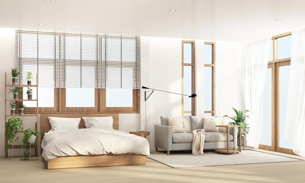 Schlafzimmer und wohnbereich im modernen zeitgenössischen stil mit hölzernem fensterrahmen und schierem 3d-rendering