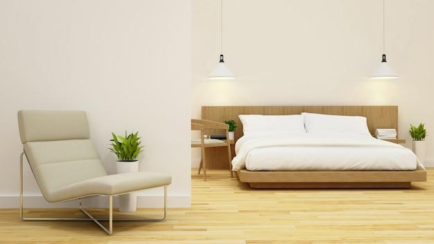 Schlafzimmer und wohnbereich in kondominium oder hotel - 3d rendering