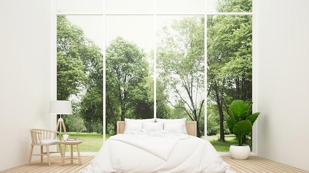 Schlafzimmer und wohnbereich mit blick auf die natur - schlafzimmer im haus oder in der wohnung