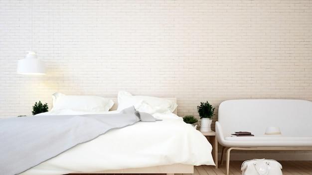 Schlafzimmer- und wohnbereichbacksteinmauer in der wohnung oder im haus