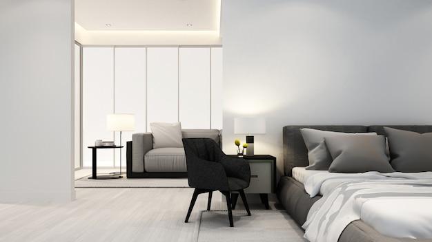 Schlafzimmer und wohnzimmer in der wohnung oder im hotel - innenarchitektur