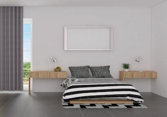 Schlafzimmerinnenraum des Luxuxscandinavian-Stils mit Spott herauf Plakat