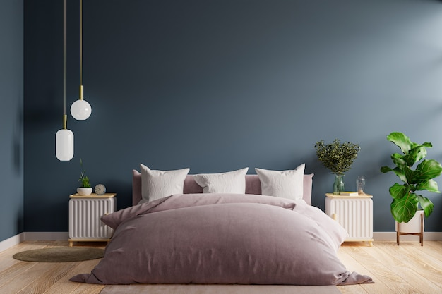 Schlafzimmerinnenraum im dunklen stil, dunkelblaues wandmodell. 3d-rendering