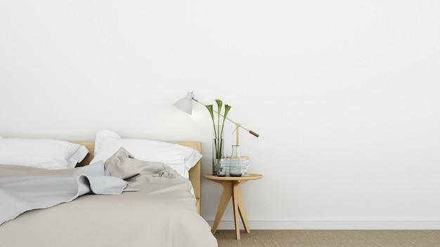 Schlafzimmerinnenraum im hotel - wiedergabe 3d