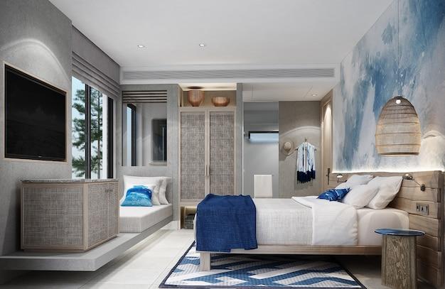 Schlafzimmerresort mit holzdekorationsmöbeln und weißem fliesenboden. 3d-rendering