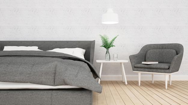 Schlafzimmerwohnung oder hotel, innenraum, wiedergabe 3d