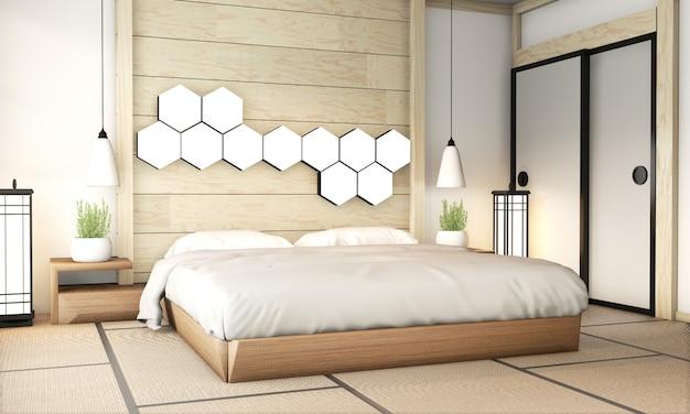Schlafzimmerzeninnenraum mit tatamimattenboden und hexagonlampe auf hölzerner wand. 3d-rendering