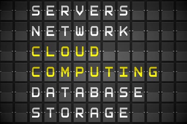 Schlagworte der cloud-computing auf schwarzem mechanischem brett