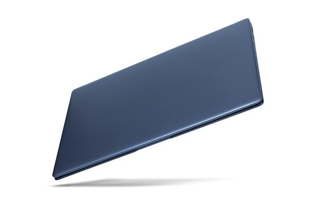 Schlanker moderner laptop auf weiß mit schatten.