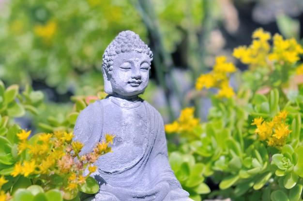 Schließen sie auf entsteinter buddha-statue in einem garten