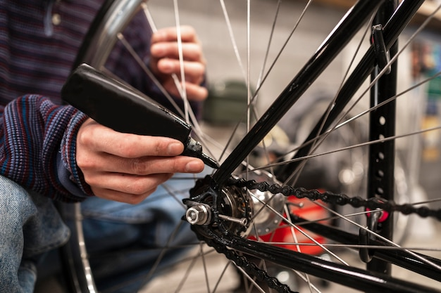 Schließen sie das handölen des fahrrads