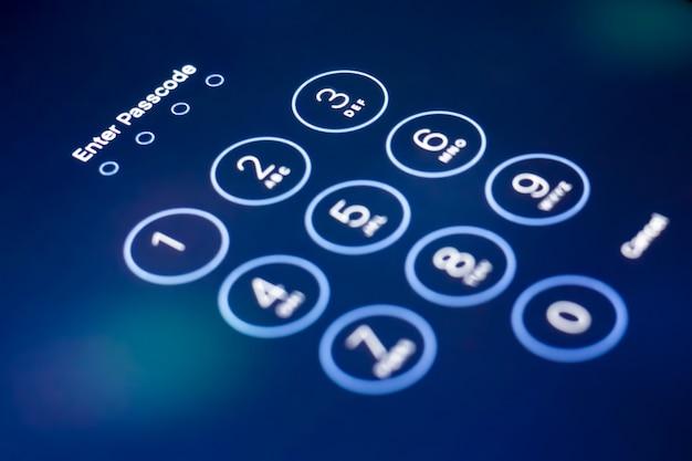 Schließen sie die anzeige enter passcode security