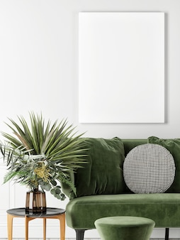 Schließen sie ein leeres plakat mit einem grünen sofa und einer dekorationspflanze