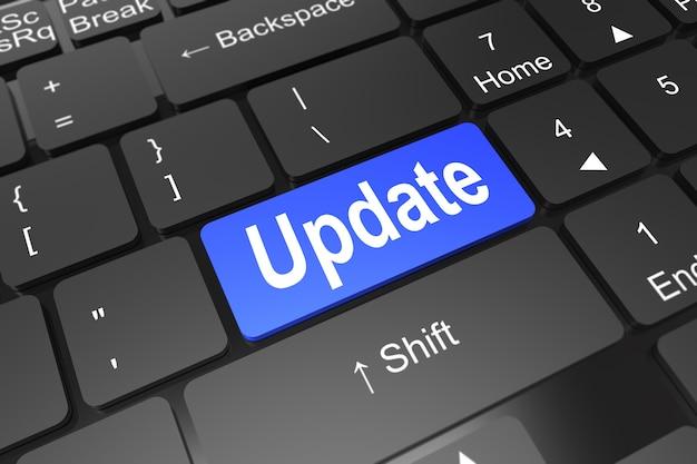 Schließen sie herauf blauen knopf mit aktualisierungszeichen auf schwarzer tastatur