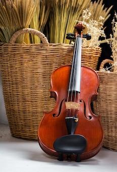 Schließen sie herauf die violine, die vor trockenblumenkorb gesetzt wird