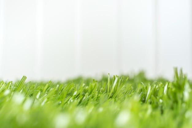 Schließen sie herauf grüne rasenfläche am weißen zaun im hinterhof