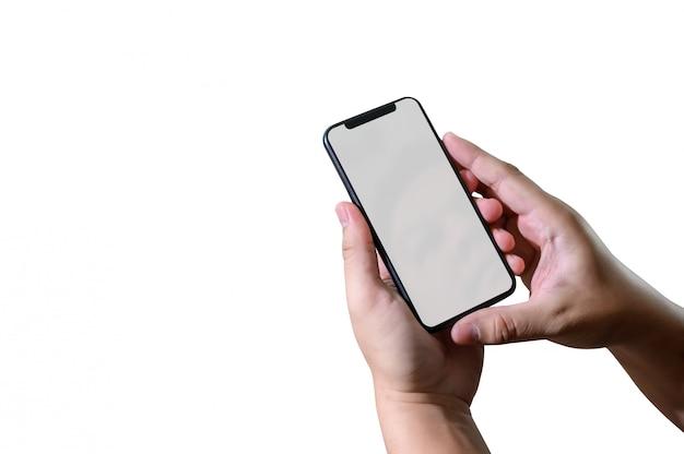 Schließen sie herauf mannhände unter verwendung der intelligenten telefontechnologie- und telefontechnologietrends