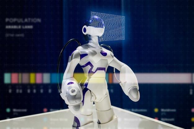 Schließen sie herauf modernen roboter, technologic schnittstelle
