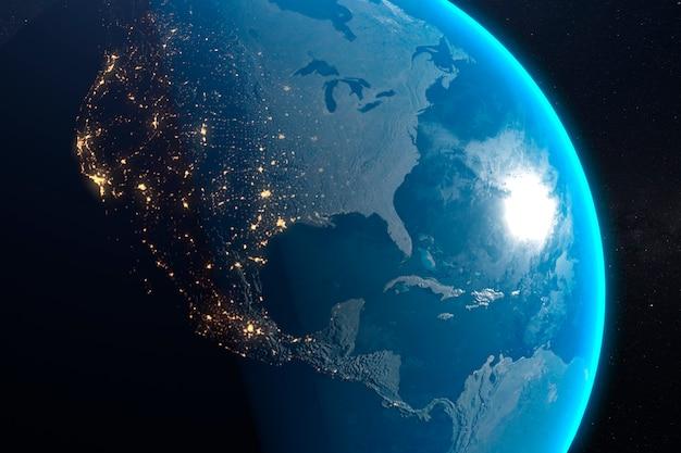 Schließen sie herauf planetenerdoberfläche, die städte, die nachts glühen