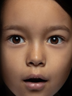Schließen sie herauf porträt des kleinen und emotionalen asiatischen mädchens. hochdetailliertes fotoshot eines weiblichen models mit gepflegter haut und strahlendem gesichtsausdruck. konzept menschlicher emotionen. sieht schockiert und erstaunt aus.