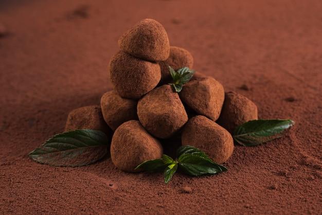 Schließen sie herauf trüffeln mit kakaopulver