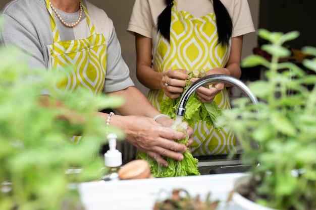 Schließen sie oben leute, die salat waschen