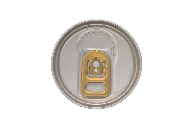 Schließen sie oben vom aluminiumdosendeckel, der auf weiß lokalisiert wird
