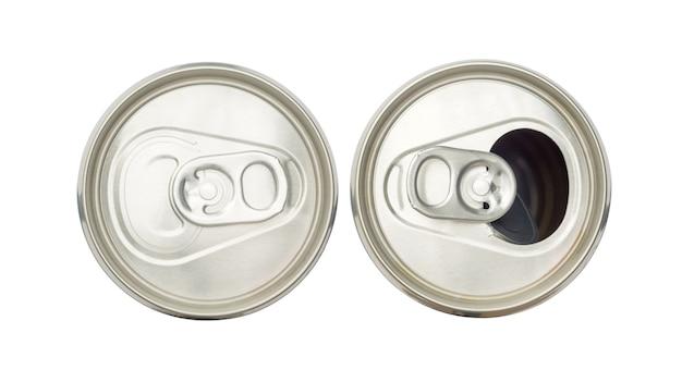 Schließen sie oben von den aluminiumdosen auf einer draufsicht