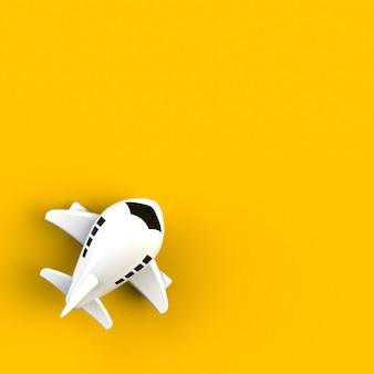 Schließen sie oben von der flugzeugillustration auf gelbem hintergrund