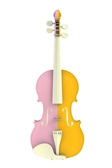 Schließen sie oben von der klassischen gelben rosa violine, die auf weißem hintergrund lokalisiert wird