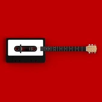 Schließen sie oben von der weinleseaudio-kassette mit akustikgitarre