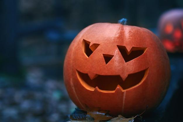 Schließen sie oben von einem jackkopf-halloween-kürbis in einem dunklen wald bei nacht copyspace.