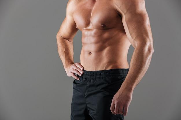 Schließen sie oben von einem männlichen bodybuildertorso des muskulösen sitzes