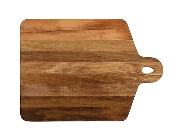 Schließen sie oben von einem rechteckigen geformten braunen eichenholzküchenschneidebrett mit griff lokalisiert auf weißem hintergrund