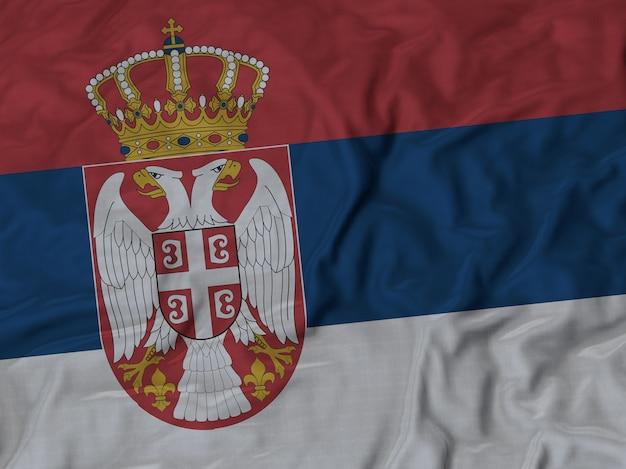 Schließen sie oben von gekräuselter serbien-flagge
