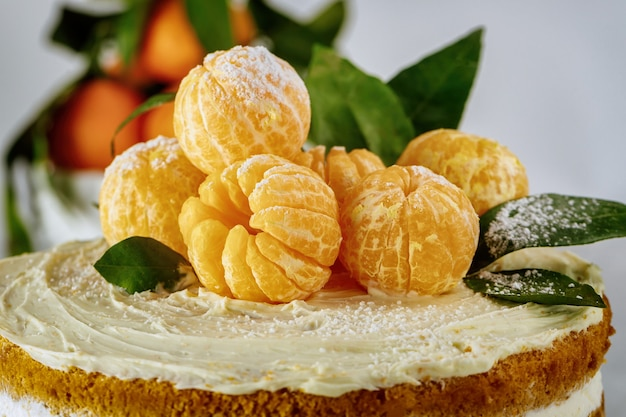 Schließen sie oben von orange mandarinen mit grünen blättern.