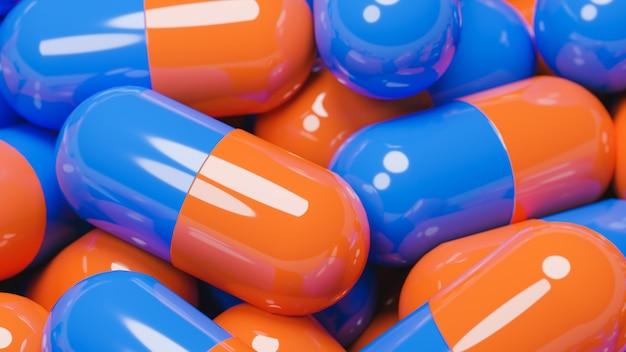 Schließen sie oben von vielen orange und blauen pillenkapseln