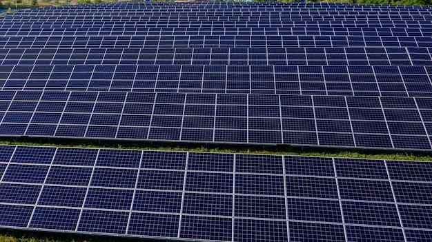 Schließen sie solarkraftwerkstafeln in einer reihe in den feldern grüne energie