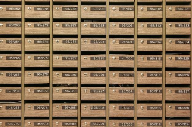 Schließfach-postfächer für die aufbewahrung ihrer informationen, rechnungen, postkarten, post usw. sowie der bestimmungen für eigentumswohnungen für postfächer
