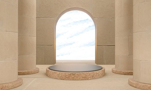 Schloss innenständer vorlage podium für produktanzeige, 3d-rendering