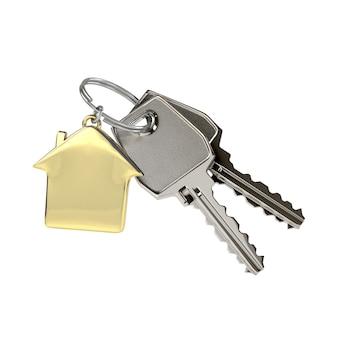 Schlüssel mit einem hausanhänger.