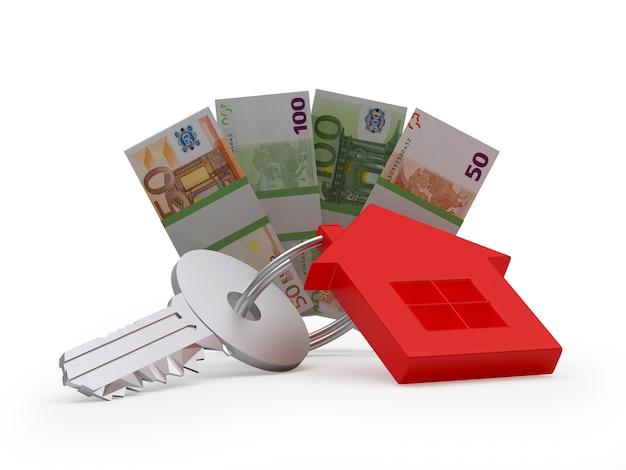 Schlüssel mit einer hausfigur und euro-banknoten 3d