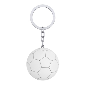 Schlüsselanhänger ring mit leder weiß fußball fußball im clay-stil auf weißem hintergrund. 3d-rendering