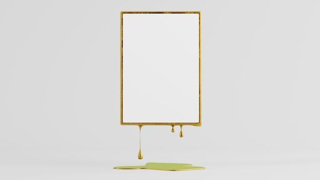 Schmelzendes modell des goldenen rahmens 3d-rendering