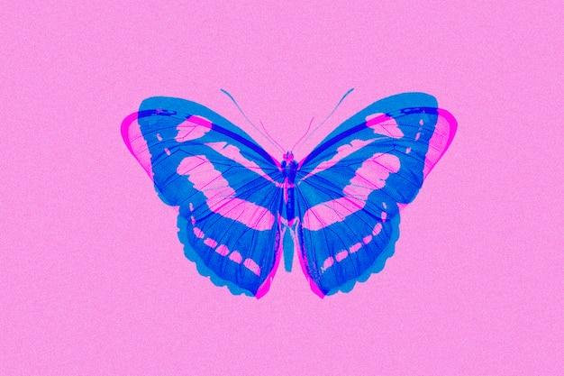 Schmetterling in zweifarbigen abstrakten belichtungs-remixed-medien