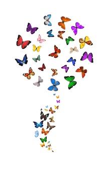 Schmetterlinge in form einer blume auf weißem hintergrund. tropische insekten. farbige motten für das design. foto in hoher qualität